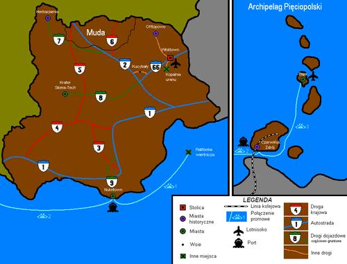 Mapa administracyjno-drogowa obejmująca Archipelag Pięciopolski
