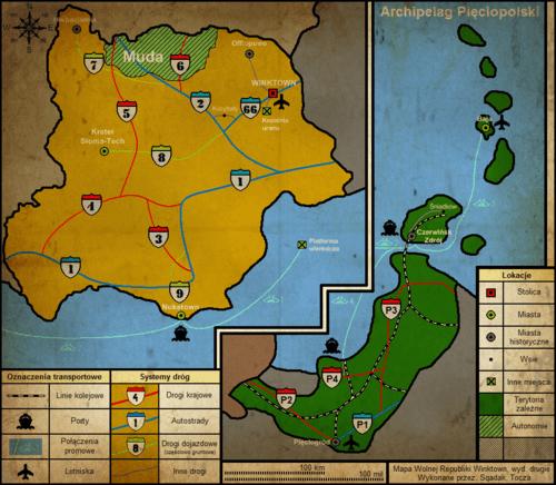 Stylizowany wariant mapy administracyjno-drogowej obejmującej Pięciopolskę Zachodnią