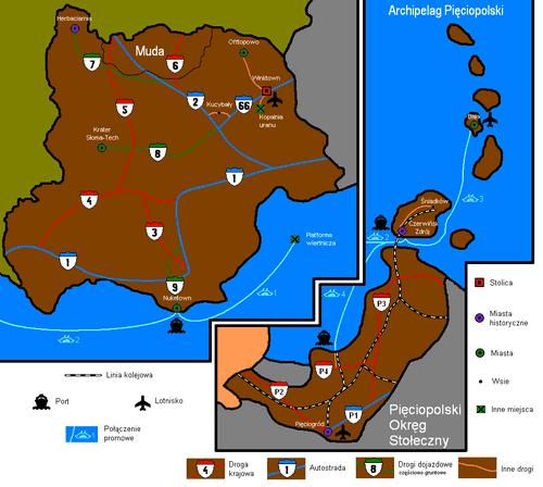 Mapa administracyjno-drogowa obejmująca Pięciopolskę Zachodnią